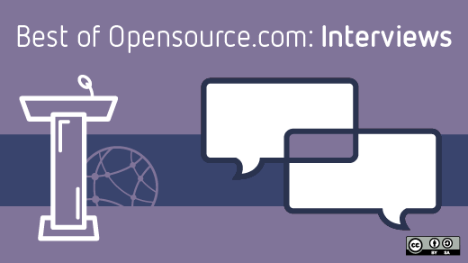 Best of Opensource.com interviews with podium and chat bubbles