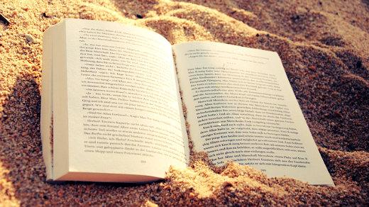 Book open on the beach