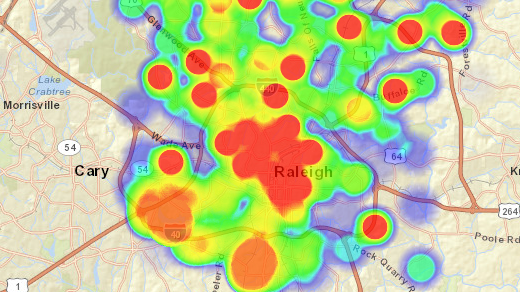 Heat map in Raleigh, NC