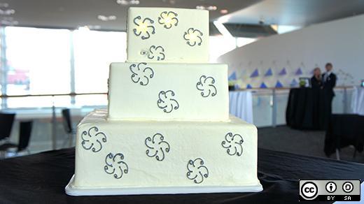 An open-hardware-powered wedding cake.