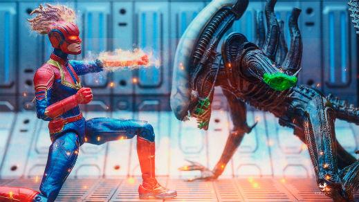 Captain Marvel toy fighting