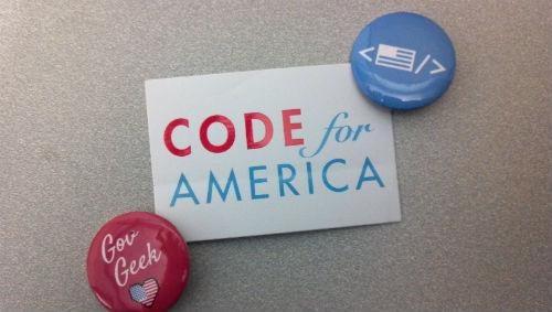 Code for America sickers and pins.