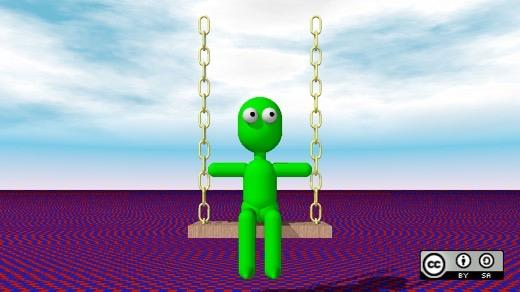 Green robot doll on a swing