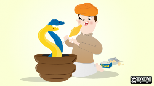 Snake charmer cartoon with a yellow snake and a blue snake