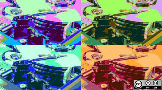 4 different colored hard drives
