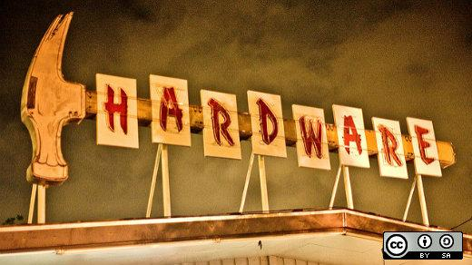 A sign that says hardware.