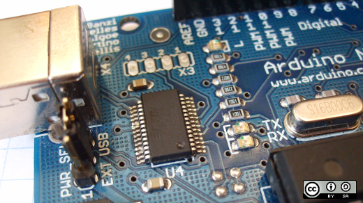 Closeup of an Arduino board