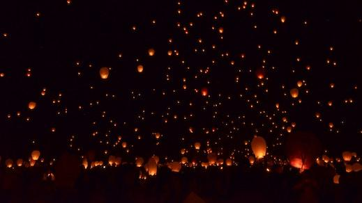 Paper lanterns in the sky
