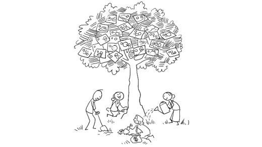 A sketch of people under a tree