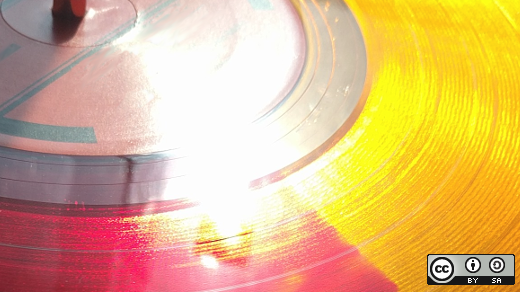 Yellow and red record playing