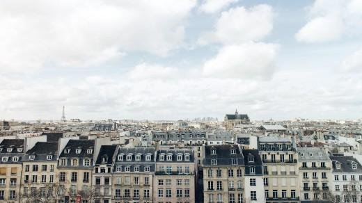 Blue skies over the city of Paris France