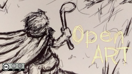 Open art concept work: A person with a cape and golf club