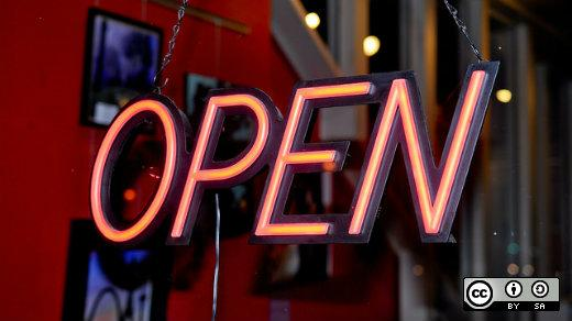 An open for business sign.