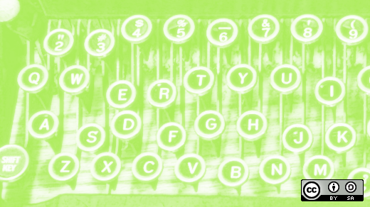 Typewriter keys in green