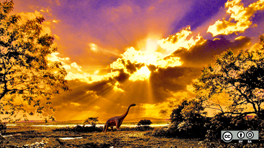 Dinosaurs on land at sunset