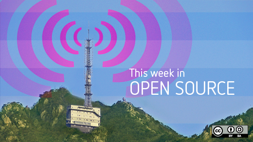 Weekly news with pink radio beacon on the top of a mountatin