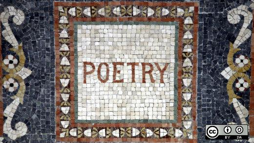 A mosaic with the word poetry in a white square