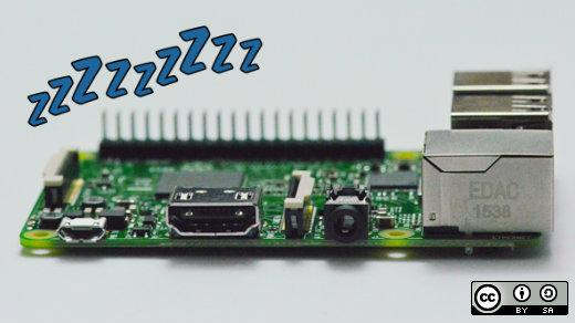 Raspberry Pi board with sleeping z's