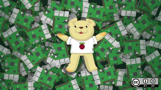 Raspberry Pi boards with bear wearing a pi shirt