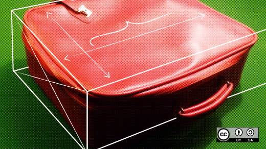 Red suitcase with container outline