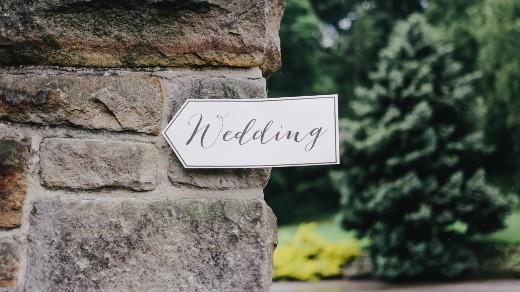Outdoor wedding sign