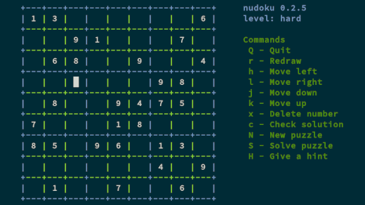 Solve a puzzle at the Linux command line with nudoku