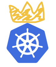 Kubernetes logo with a crown