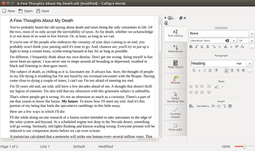 Calligra Words screenshot