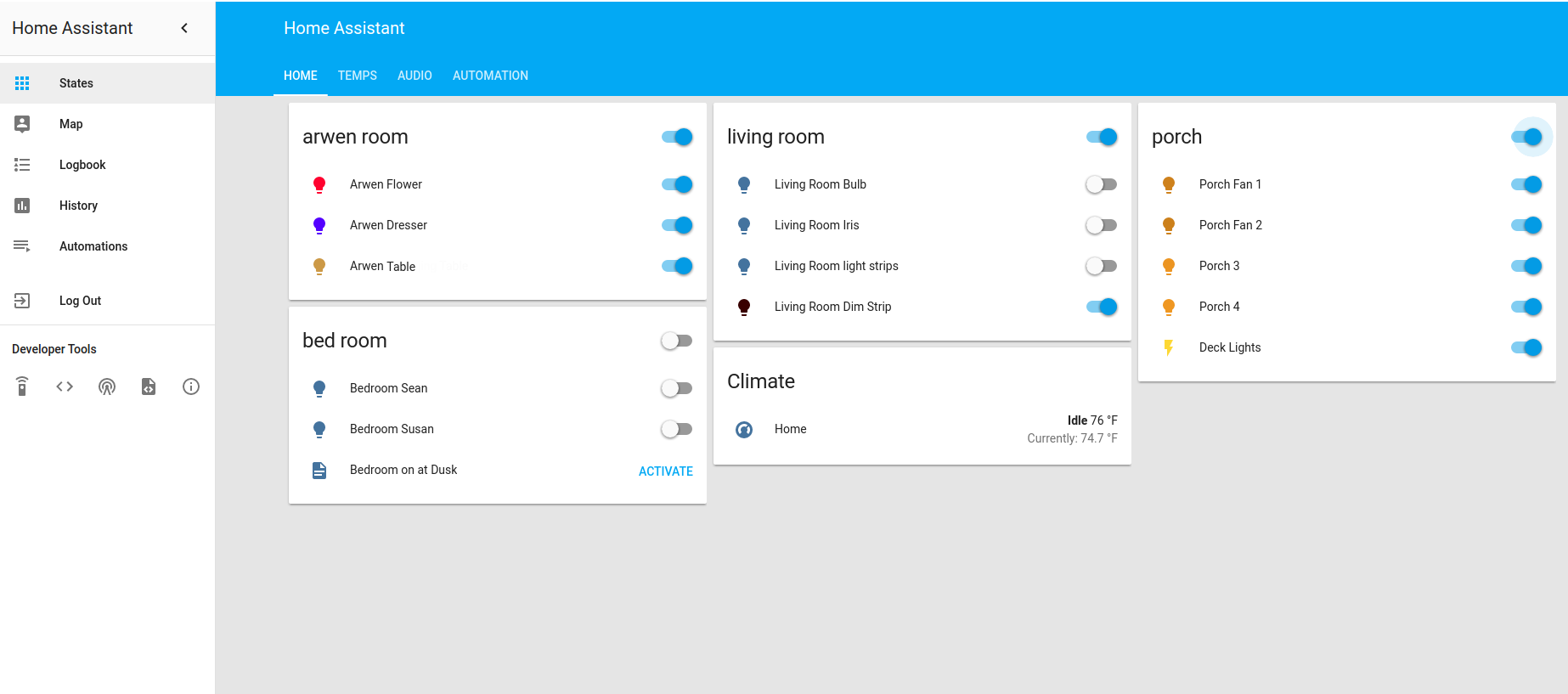 Home Assistant Polymer UI. Notice Hue bulb icons match the color the bulbs currently are.
