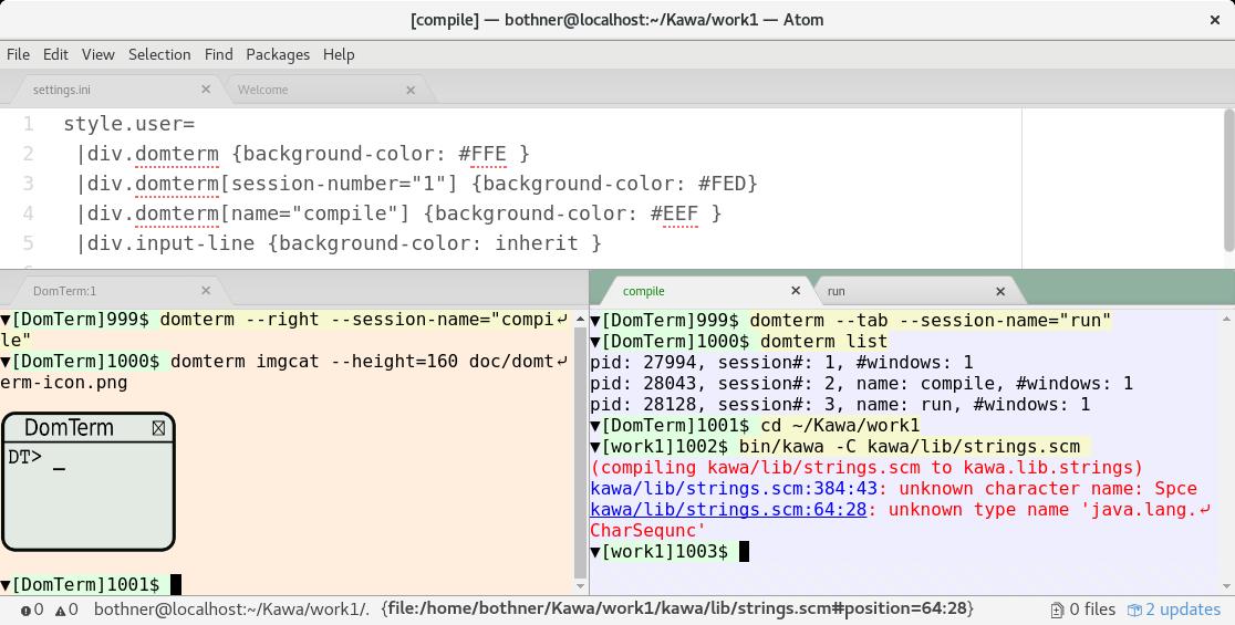 DomTerm terminal panes in Atom editor