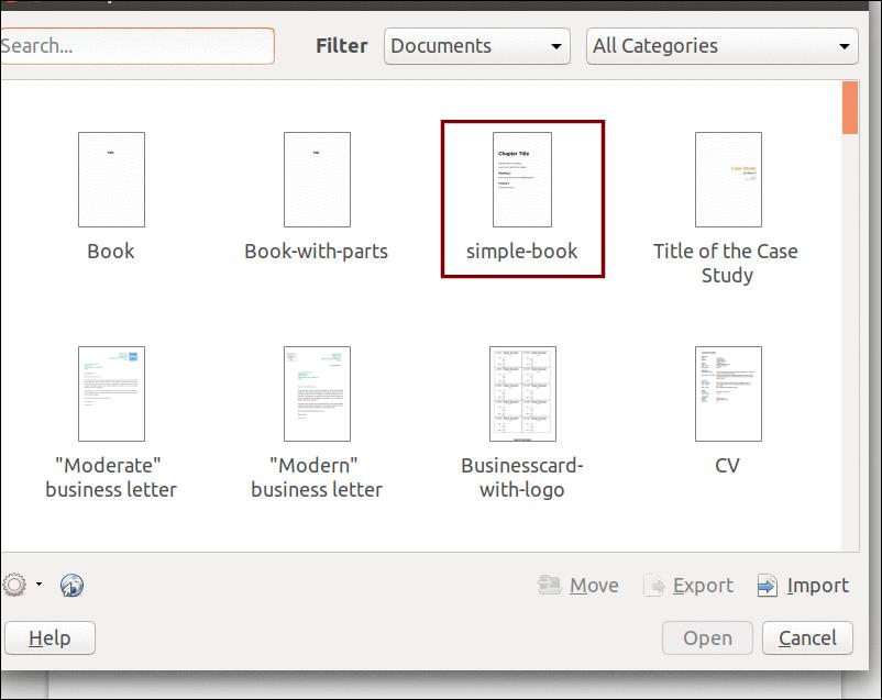 LibreOffice Writer template list