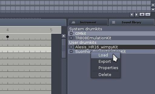 loading your drumkit file into hydrogen