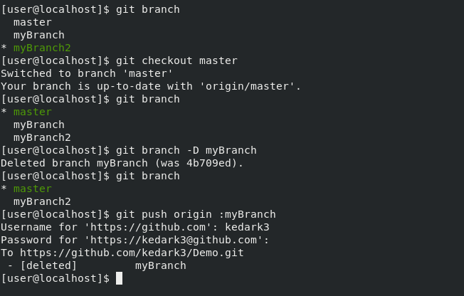 terminal Step 1.Delete the local copy of your branch