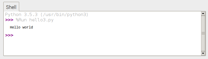 Python hello world screenshot