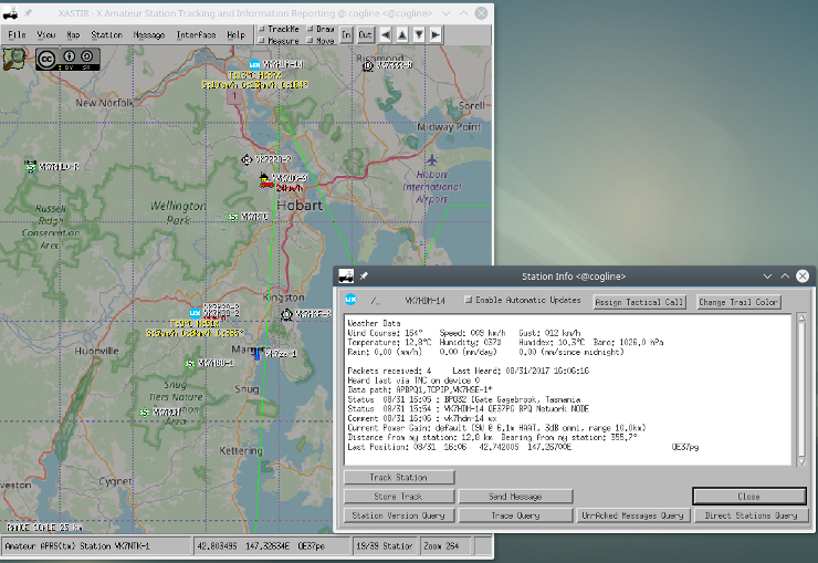 XASTIR showing APRS stations overlaid on OpenStreetMap bitmap tiles