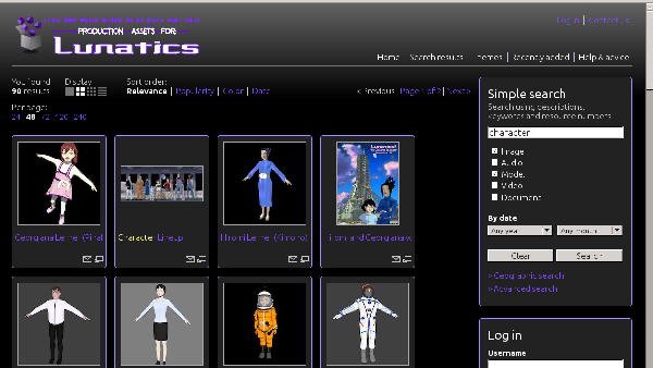 Resource Space web interface (a search query for 'characters')