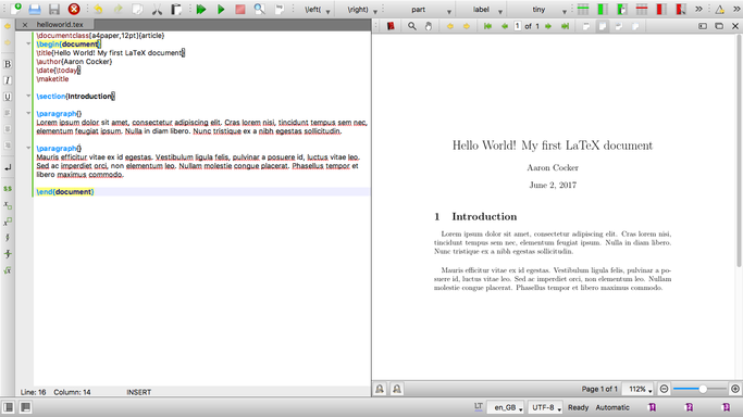 The finished document with code and the PDF output side-by-side