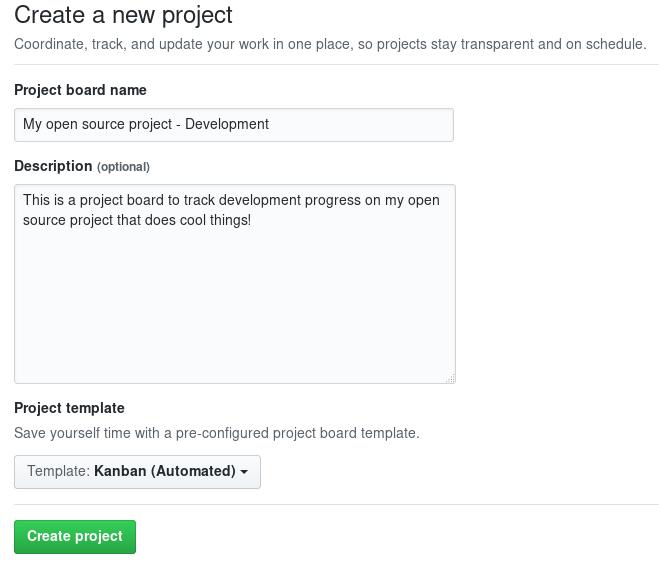 Creatinga new GitHub project board.