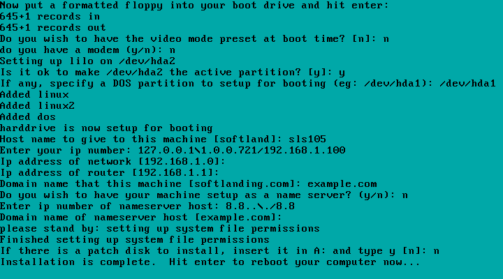 Creating a partition for Linux, putting an ext2 filesystem on it, and installing Linux