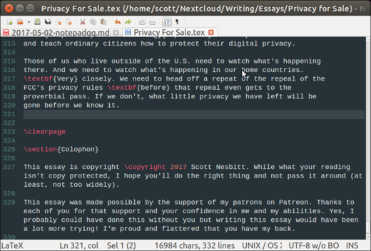 Syntax highlighting of a LaTeX document.