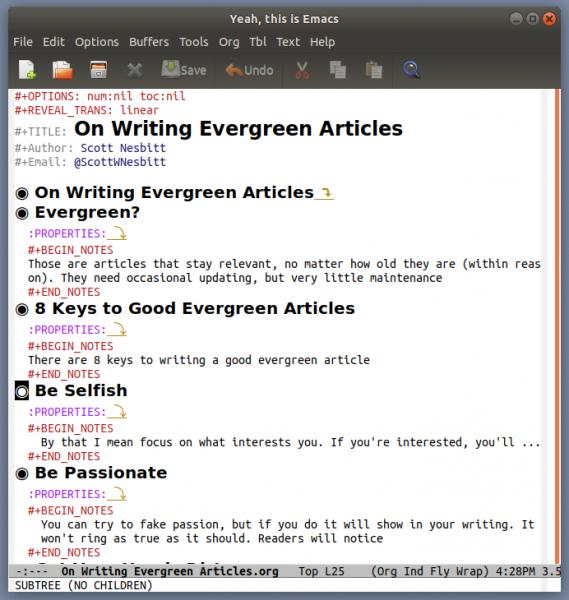Presentation in Emacs