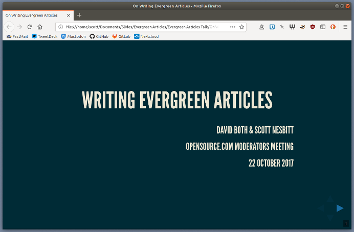 Opening slide in browser