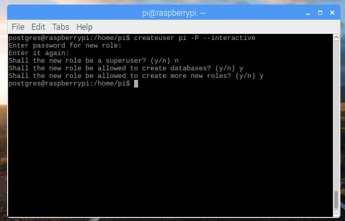 creating a postgres user