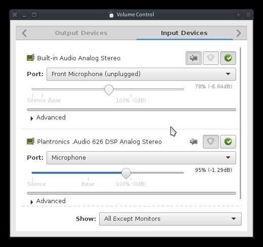 Inputs in Pulse Audio