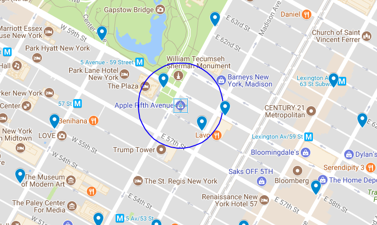 Map of Apple NYC store location
