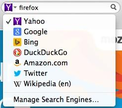 Firefox search engines options