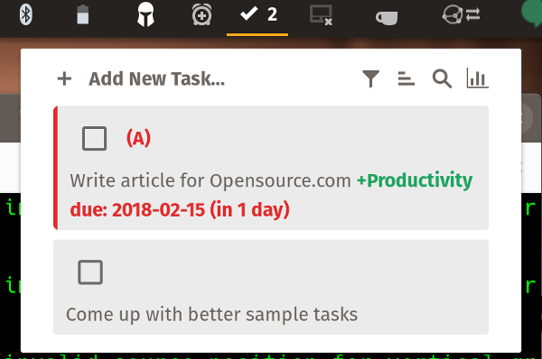 GNOME extensions in todo.txt