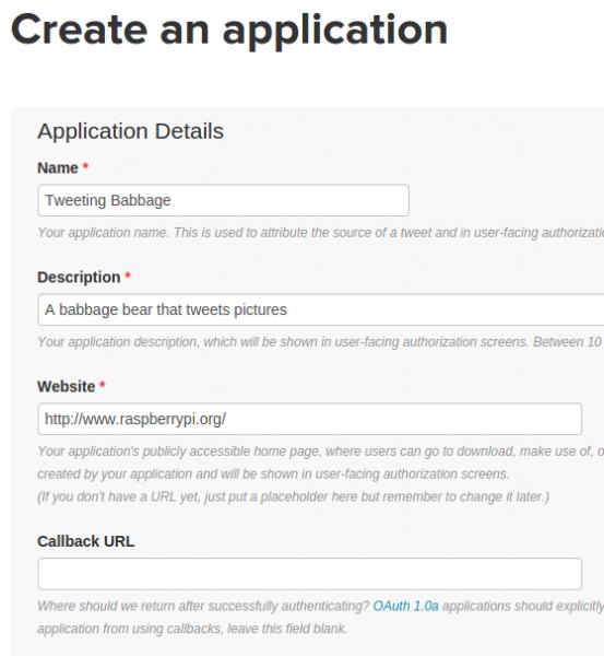 Creating a Twitter app