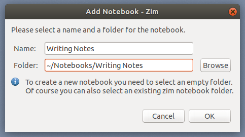 Setting the Zim notebook name and folder