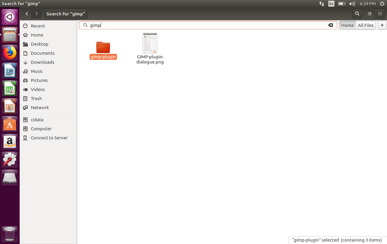 Screenshot of how to find files in Linux with Ctrl+F